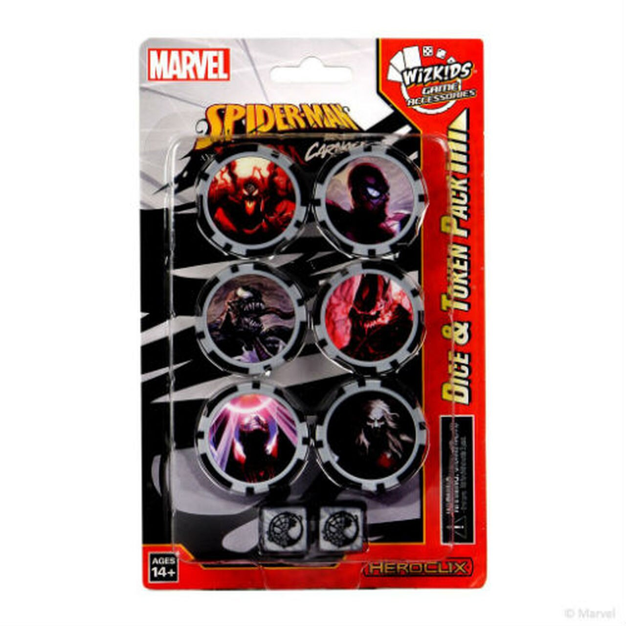 MARVEL HEROCLIX: SPIDER-MAN & VENOM ABSOLUTE CARNAGE DICE & TOKEN PACK | All About Games