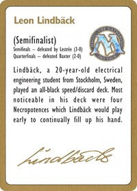 1996 Leon Lindback Biography Card [World Championship Decks] | All About Games