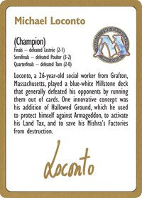 1996 Michael Loconto Biography Card [World Championship Decks] | All About Games
