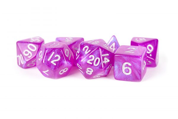 7 Count Dice Acrylic Set: 16MM Stardust Purple | All About Games