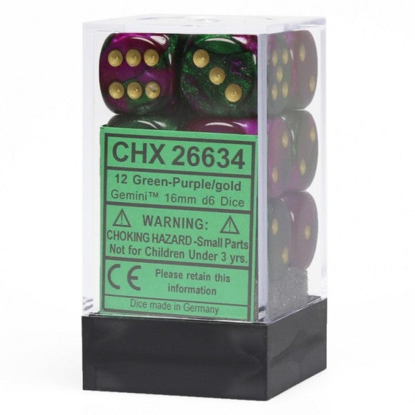 Gemini 3: 16mm D6 Green Purple Gold/Black (12) CHX26634 | All About Games