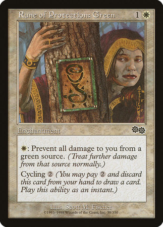 Rune of Protection: Green [Urza's Saga] | All About Games