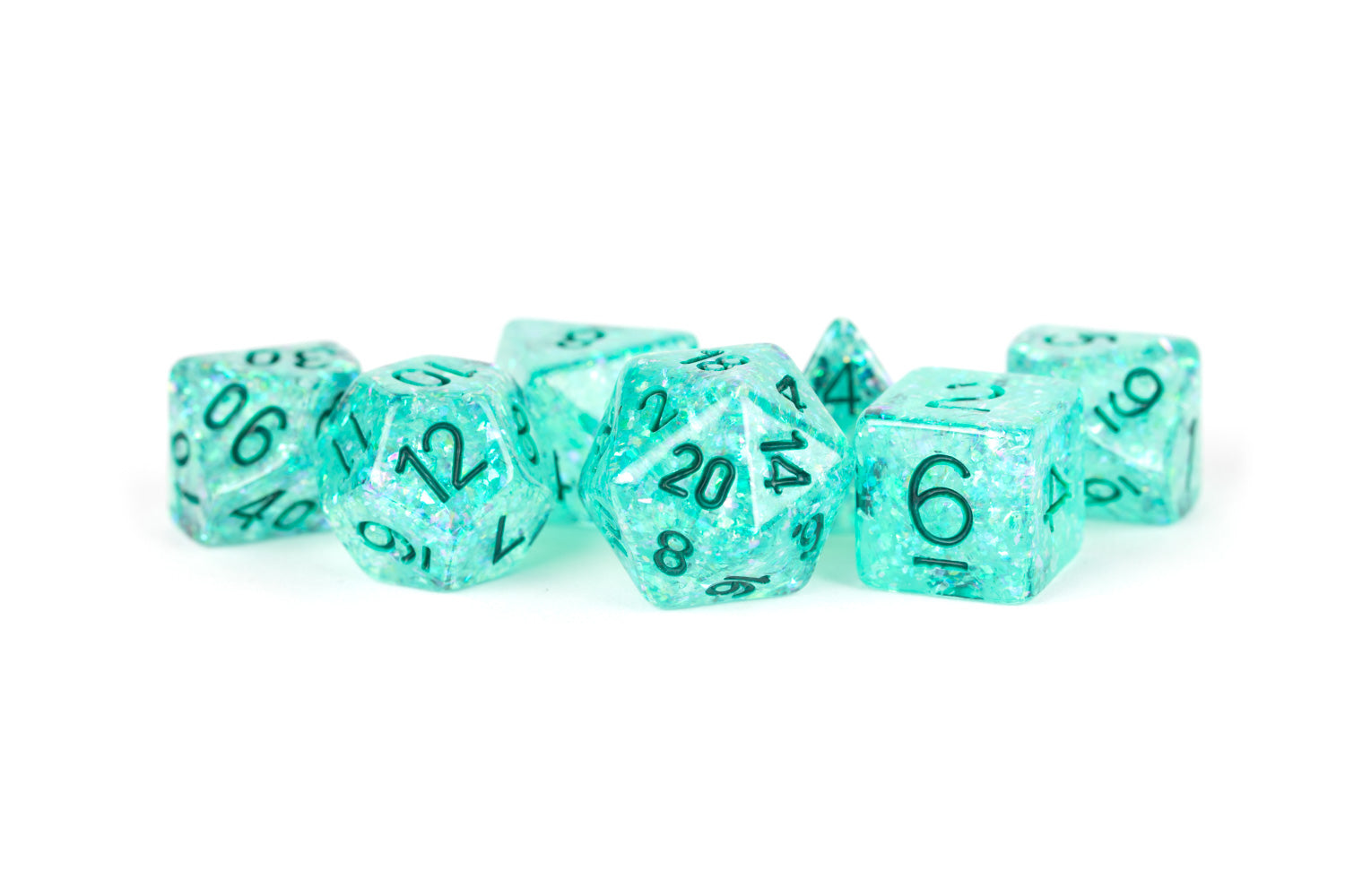 7 Count Dice Flash Set: 16MM Teal | All About Games