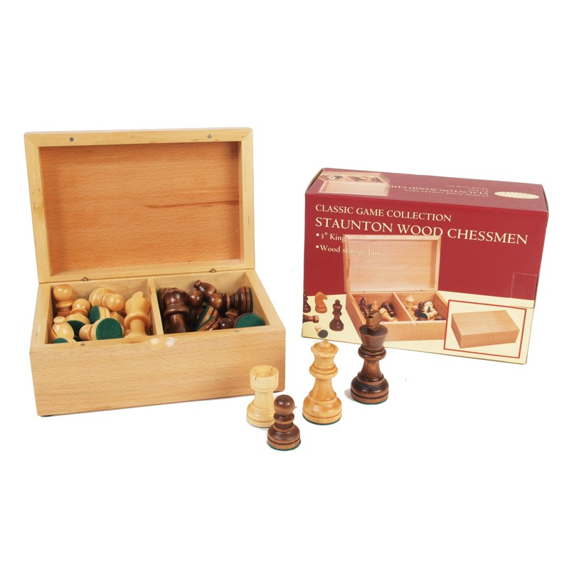 Staunton Wood Chessmen 3 1/2"