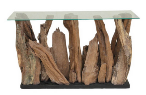teak wood beach console table
