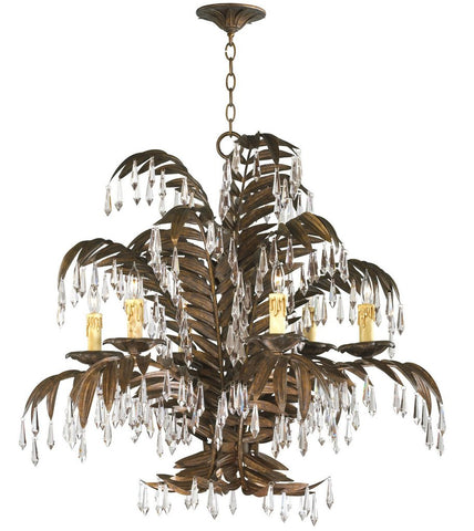 antique gold palm frond french chandelier