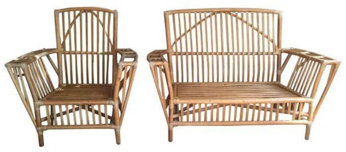 vintage stick wicker bamboo settee and chair