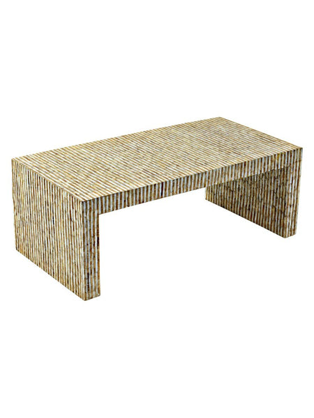 tan capiz coastal style coffee table