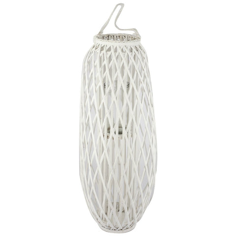 white wicker rattan lantern