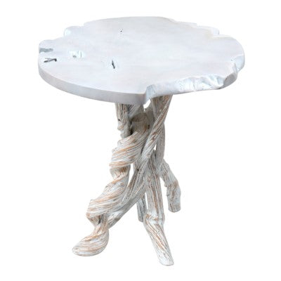 white washed teak side table beach style decor