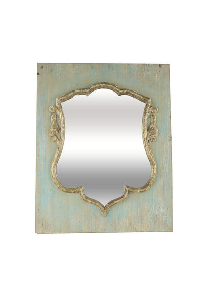 wooden aqua shield mirror