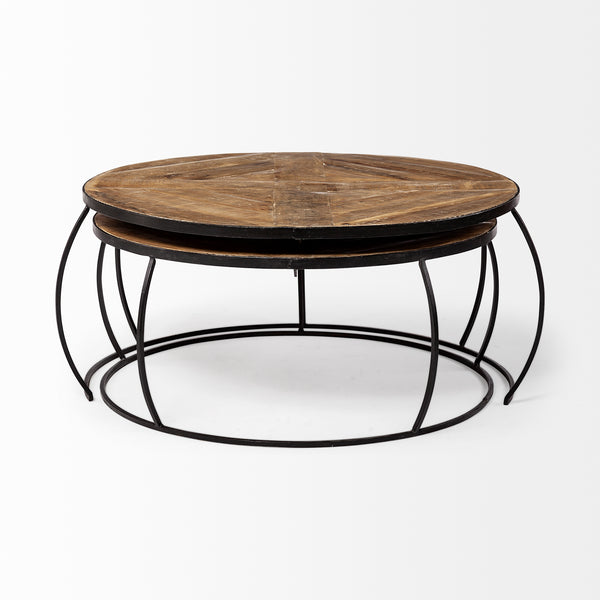 Wood and Iron Nesting Coffee Tables