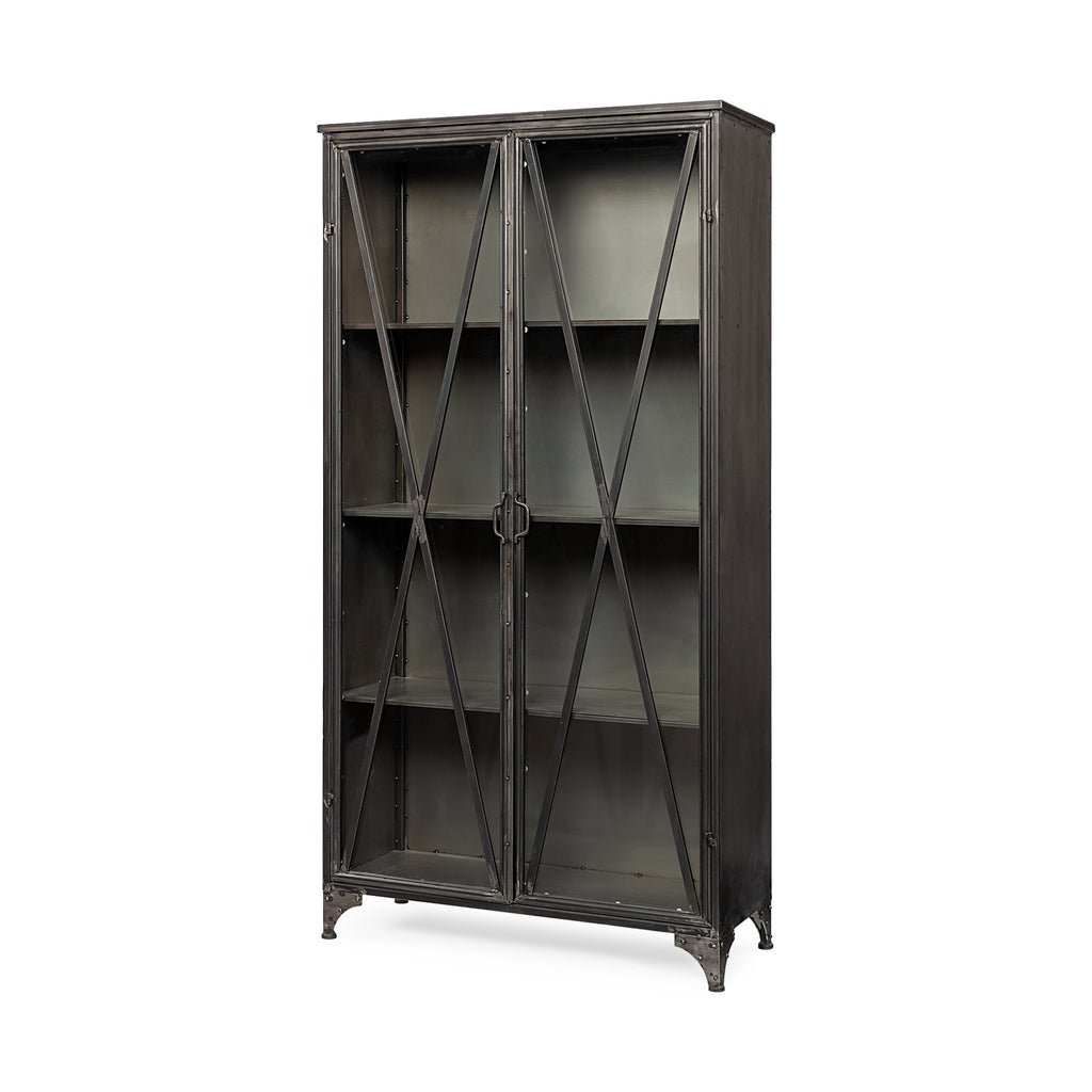 Industrial Glass and Metal Cabinet