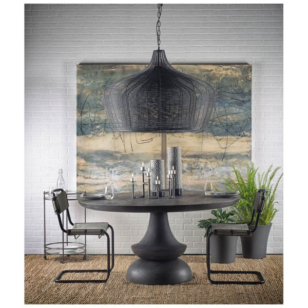 Charcoal Grey Round Wooden Dining Table