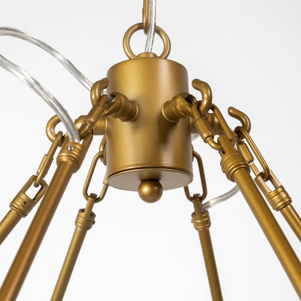 Brass Round Twelve Light Chandelier
