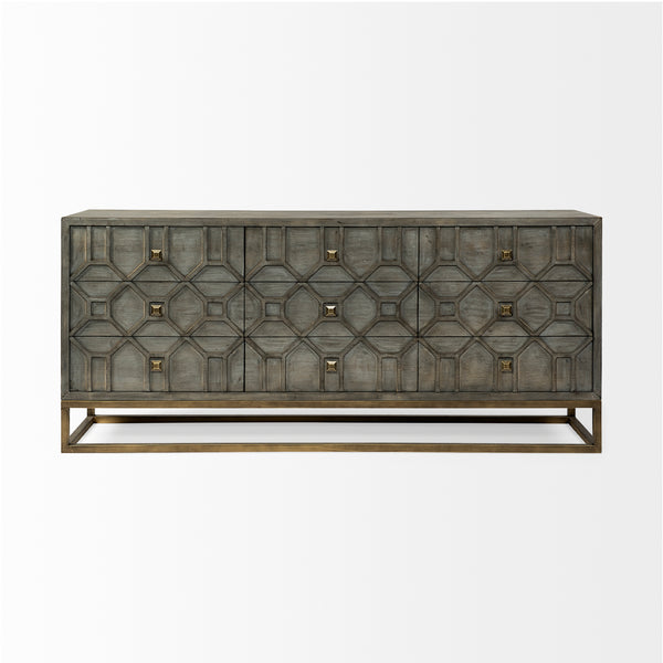 Geometric Wooden and Brass Sideboard