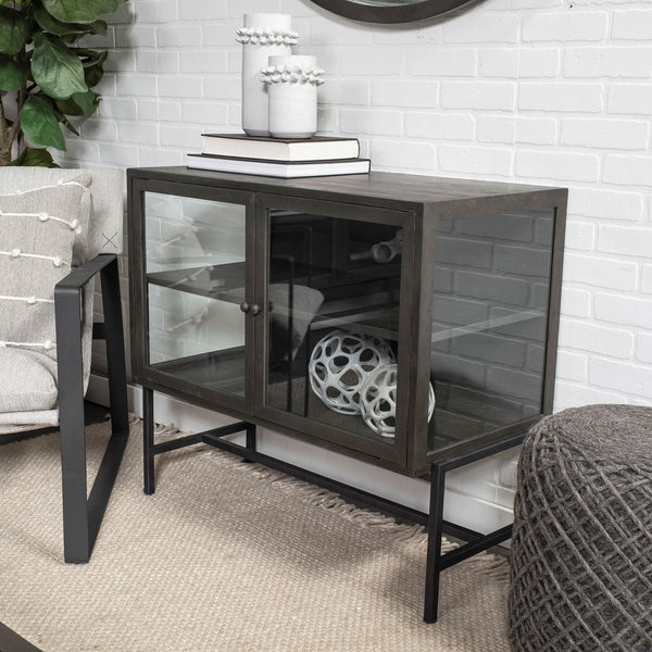 Industrial Metal Glass Side Cabinet