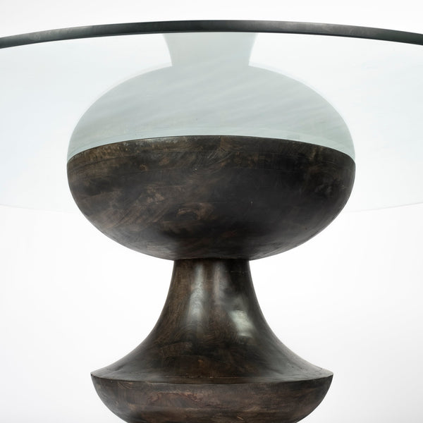 Modern Glass and Wood Scalloped Dining Table
