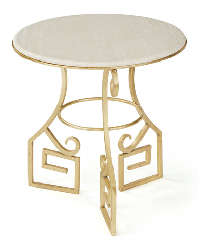 Solid Marble and Iron Gold Side Table