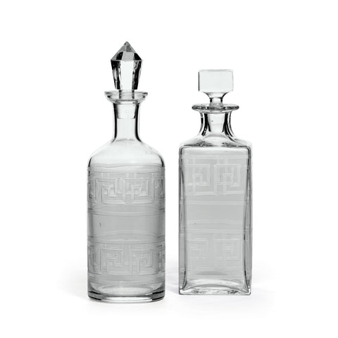 Glass Greek Key Decanters-A Pair