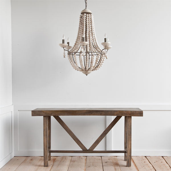 White washed Wooden Chandelier - CENTURIA