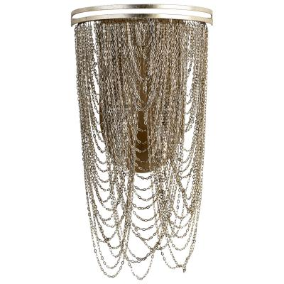 Aged Silver Leaf Draping Chain Sconce - CENTURIA
