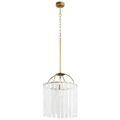 Antique Bronze and Glass Panel Pendant Light - CENTURIA