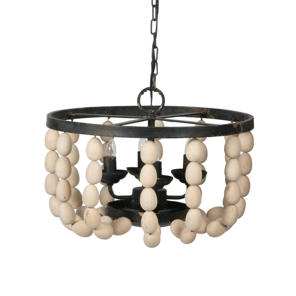 Boho Wooden Bead Four Light Chandelier - CENTURIA