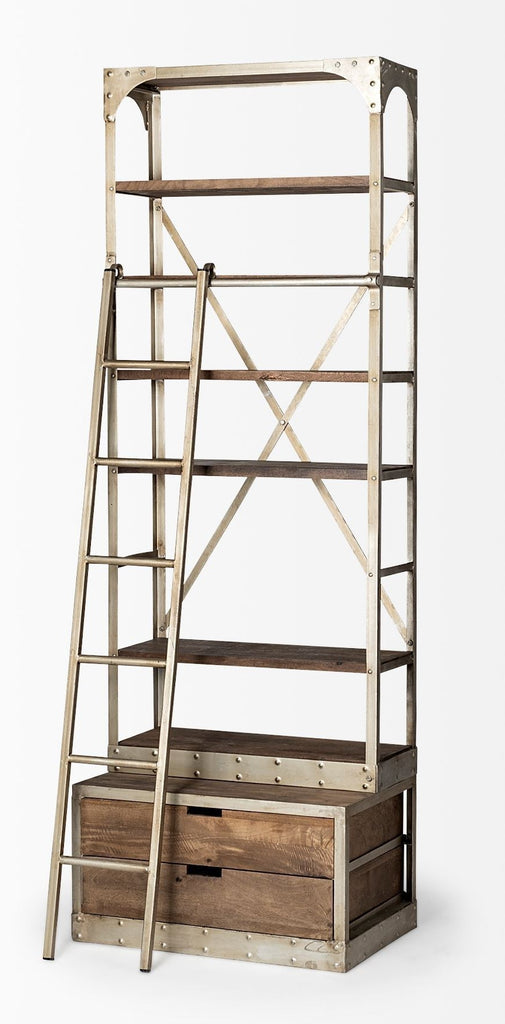 Classic Wooden Shelving Unit w/Ladder Ivory Small - CENTURIA