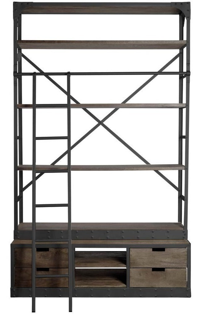 Classic Wooden Shelving Unit with Ladder - CENTURIA