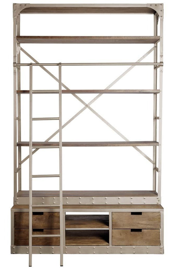 Classic Wooden Shelving Unit with Ladder in Ivory - CENTURIA