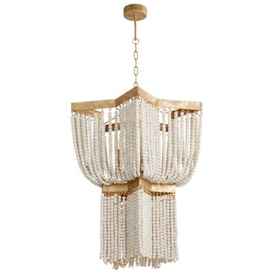 Draping Gold Leaf and Ivory Bead Chandelier - CENTURIA