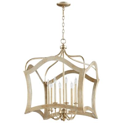 Eight Light Aged Silver Leaf Transitional Chandelier - CENTURIA