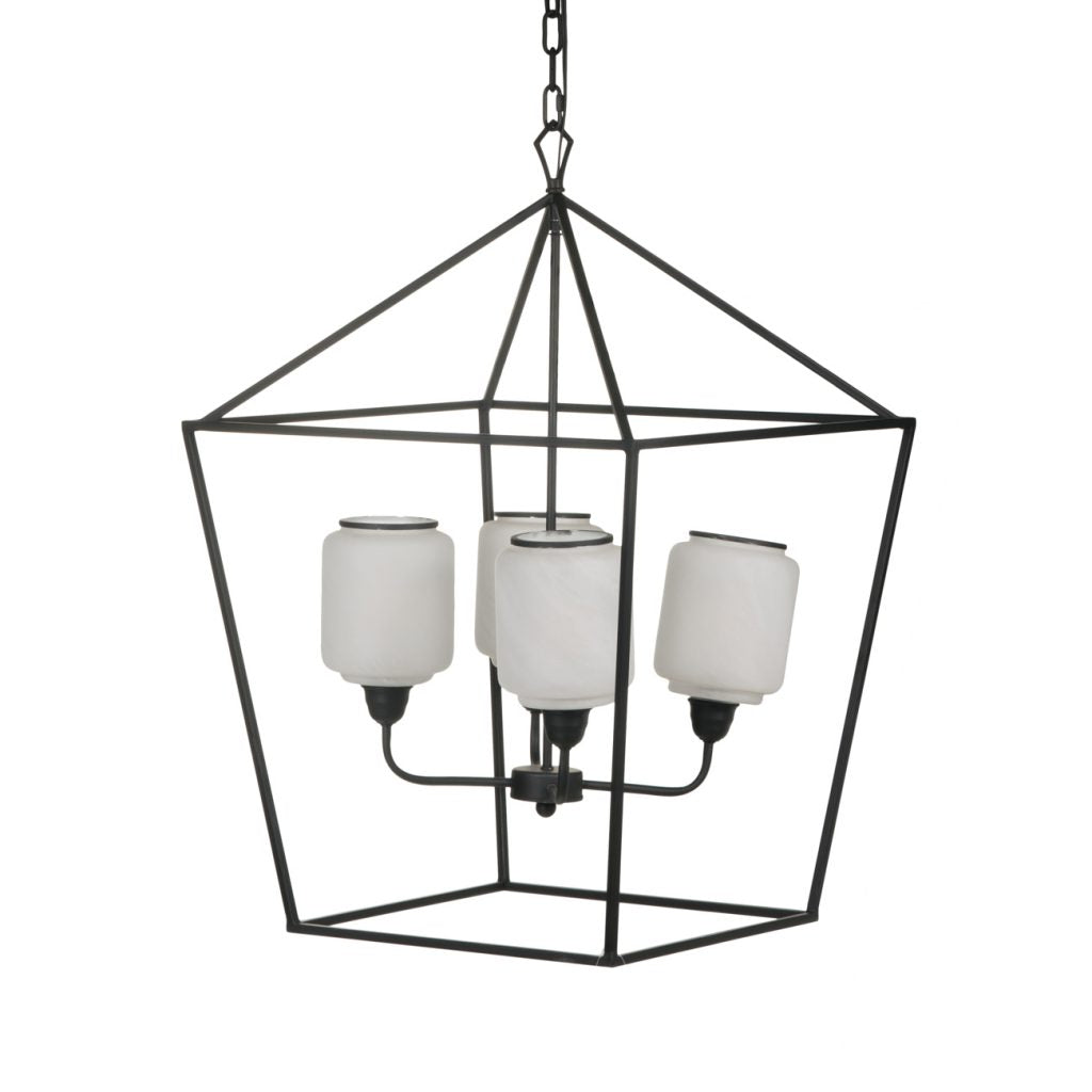 Geometric Black and White Glass Transitional Chandelier - CENTURIA
