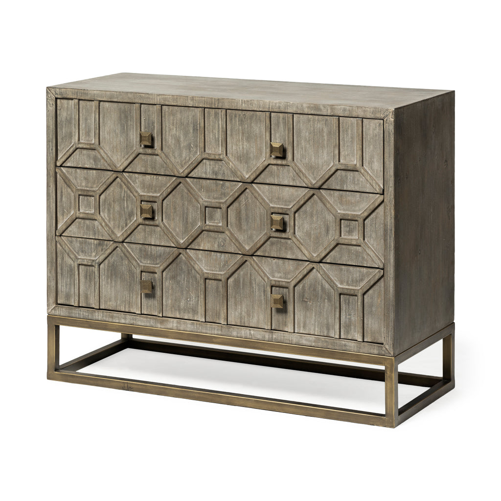 Geometric Wooden and Brass Cabinet - CENTURIA