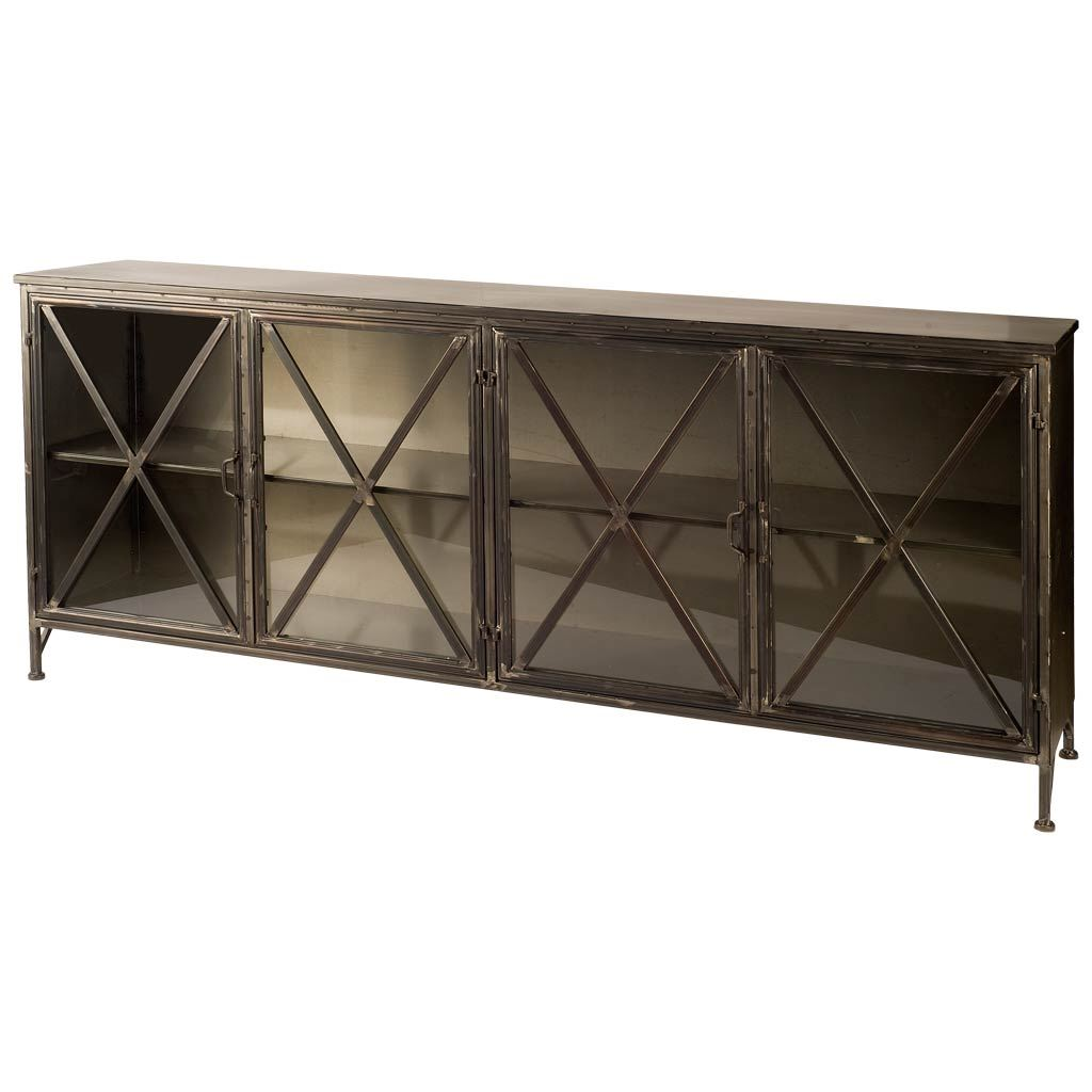 Glass Industrial Metal Sideboard - CENTURIA