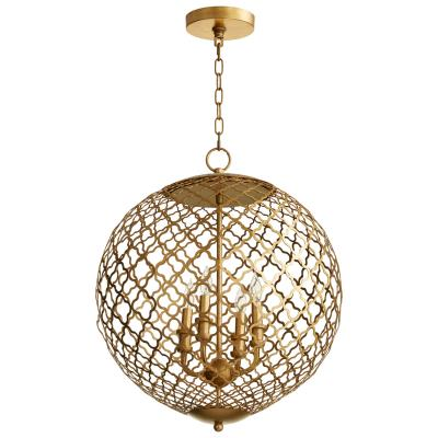 Gold Leaf Geometric Metal Globe Chandelier - CENTURIA