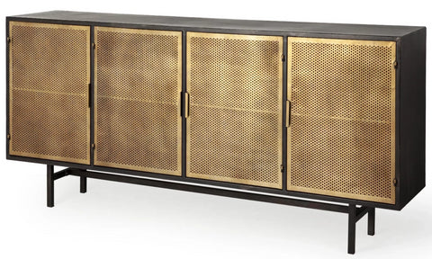 Elena Antique Brass Metal Cabinet - CENTURIA