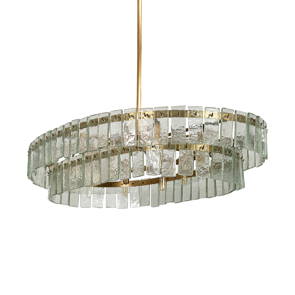 Green Glass and Brass Drum Chandelier - CENTURIA