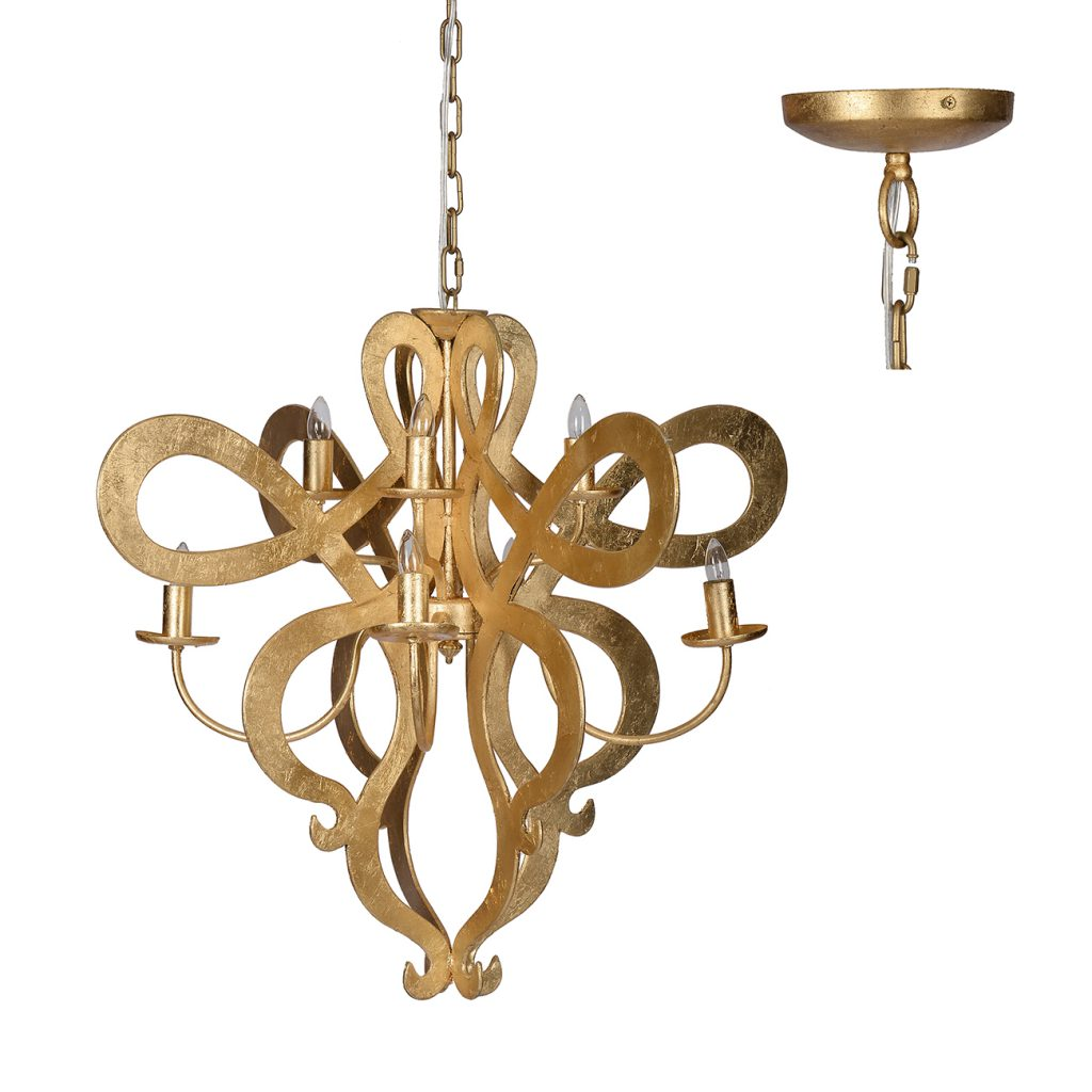 Large Eight Light Gold Scroll Chandelier - CENTURIA