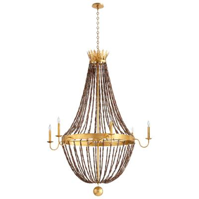 Large French Style Gold Leaf Crown Chandelier - CENTURIA