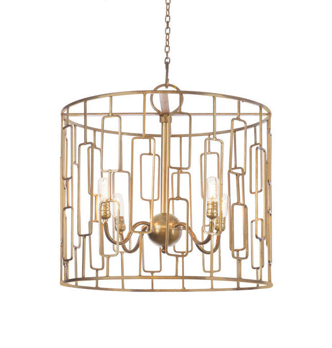 Gold Geometric Drum Chandelier - CENTURIA