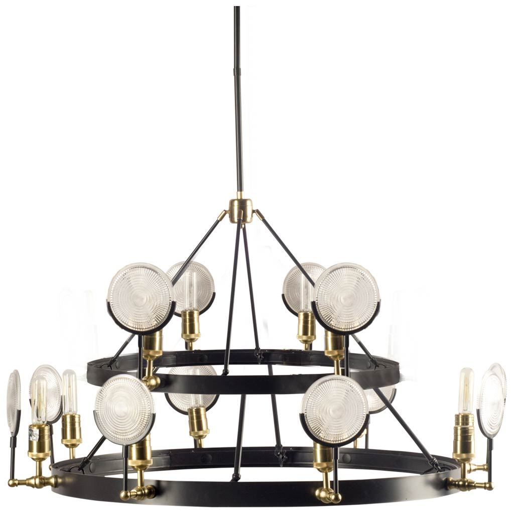 Matte Black Frosted Shade Tier Chandelier - CENTURIA