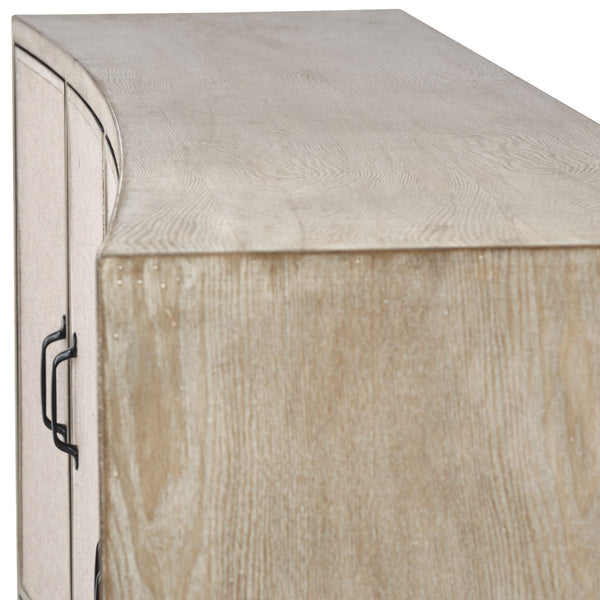 Mid-Century Inspired White Washed Linen Cabinet - CENTURIA