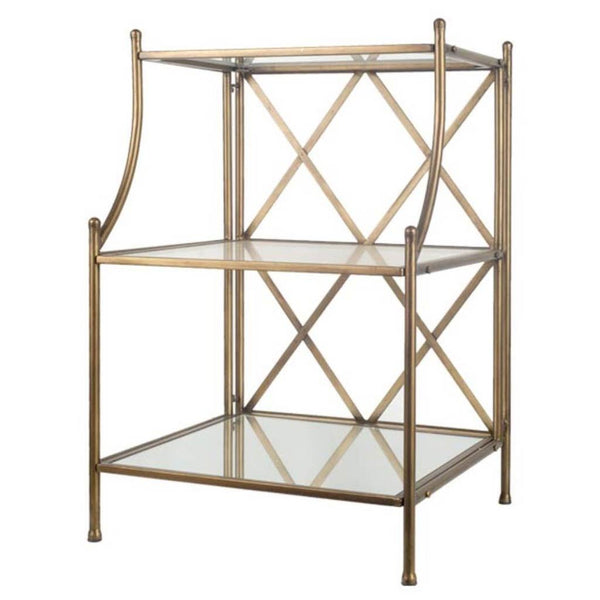 Modern Brass Side Table With Shelves - CENTURIA