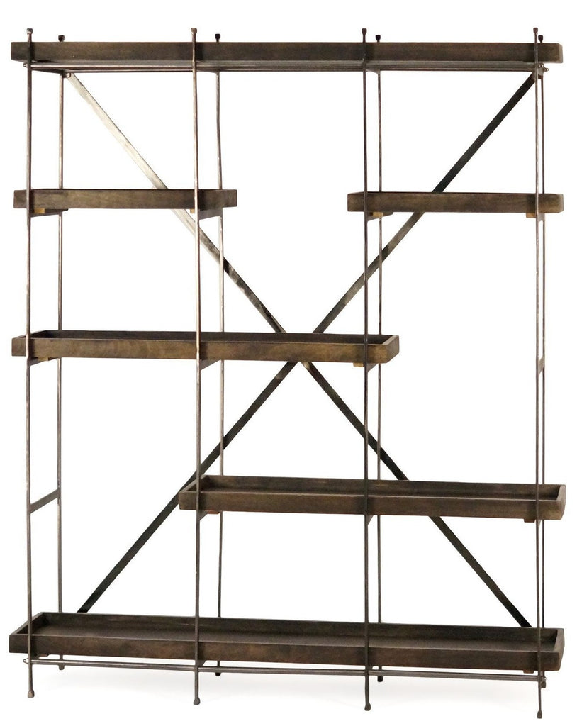 Modern Minimalist Walnut and Brass Shelving Unit - CENTURIA