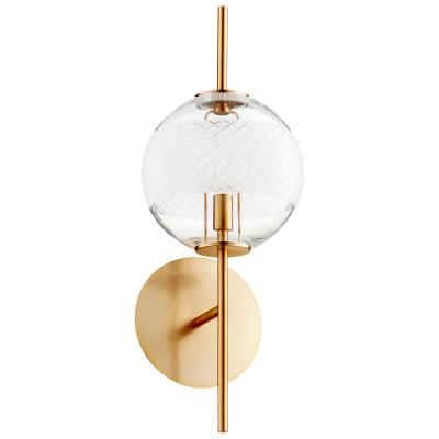 Modern Single Globe Sconce in Aged Brass - CENTURIA