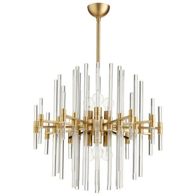 Modernist Brutalist Style Brass and Crystal Chandelier - CENTURIA