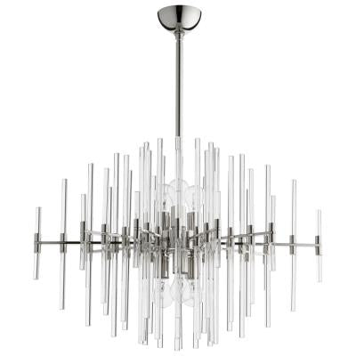 Modernist Brutalist Style Nickel and Crystal Chandelier - CENTURIA