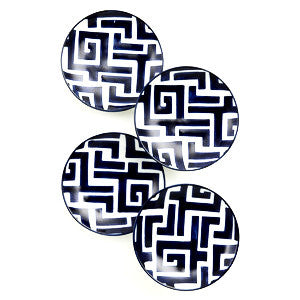 Navy Greek Key Appetizer Plates - CENTURIA